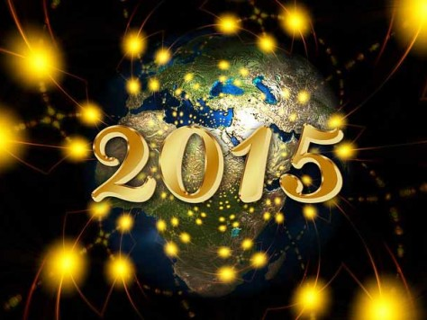 imagen de la bola del mundo con el año 2015 sobrepuesto con destellos dorados