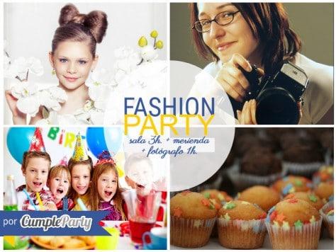 fashion party con sala merienda y fotógrafo