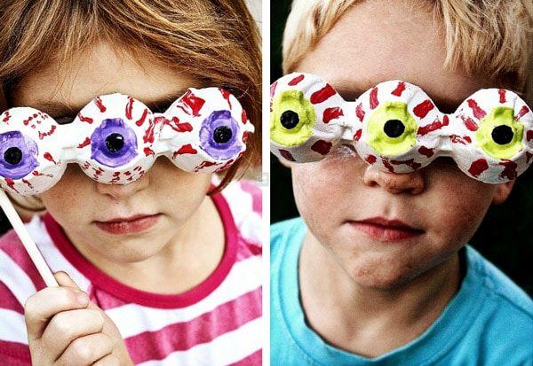 Disfraces infantiles caseros: Ojos de monstruo con cartones de huevos